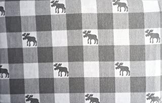 Well Dressed Home 3 Piece Turkish Cotton Flannel Twin Size Sheet Set Gray White Bistro Check Checkered Pattern with Gray Moose -- Moose Crossing