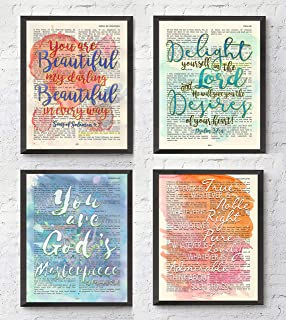 Watercolor Christian Art Prints, Set of 4, Song of Solomon 4:7, Psalm 37:4, Ephesians 2:10, Philippians 4:8 Unframed, Bible Verse Scripture Wall Decor Poster, 8x10 Inches