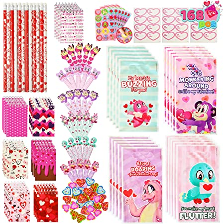 Valentine/'s Greeting Present Classroom Exchange Prizes Valentine Gift for Kids JOYIN 24 Pieces Valentines Day Pre Filled Hearts with Finger Puppets for Kids Party Favor