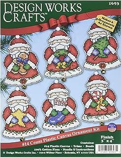 Tobin Santa Ornaments Plastic Canvas Kit, 3 by 4-Inch, Set of 6