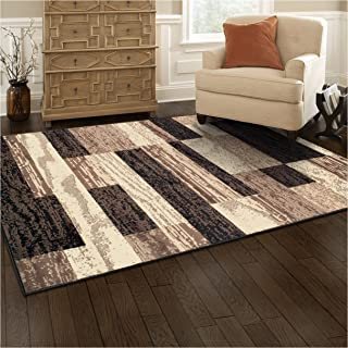 Superior Modern Rockwood Collection Area Rug 8mm Pile Height With Jute Backing Textured Geometric