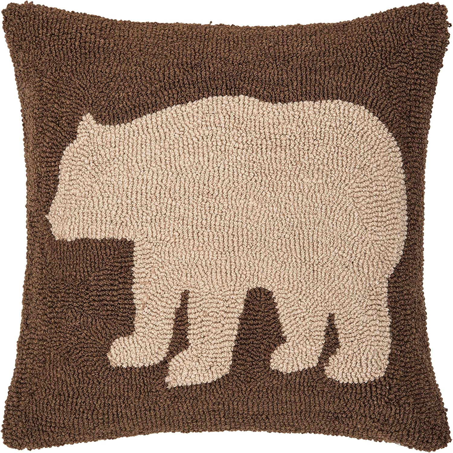 CF Home Bear Hooked Pillow x Brown 18 New Shipping Free Seasonal Wrap Introduction
