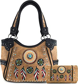 Tribal Dream Catcher Feather Embroidery CCW Concealed Carry Handbag