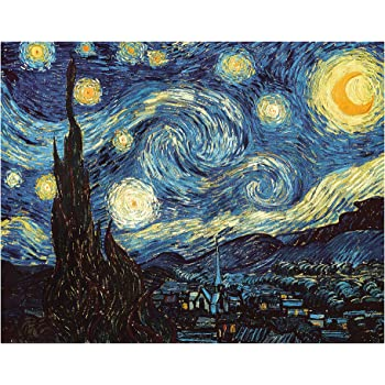 Amazon Com Diy Paint By Numbers Kit For Adults Van Gogh The Starry Night Replica Diy Paint By Numbers Landscape Scene Paintings Arts Craft For Home Wall Decor Canvas Brushes