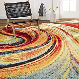 Home Dynamix Adja Modern Area Rug, Abstract Red/Blue 3'3