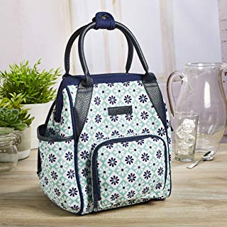 Fit & Fresh Piper Small Backpack Lunch Bag, Insulated Daypack for Travel, Hiking, Commuting, Women, Girls, Aqua Navy Patchwork