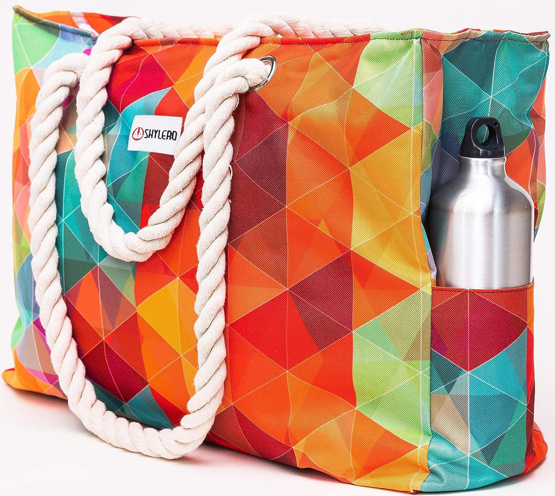 SHYLERO Beach Bag XL. Waterproof (IP64). L22 xH15 xW6 w Cotton Rope Handles, Top Zip, Two Outside Pockets. Vibrant Tote Has Waterproof Phone Case, Builtin Key Holder, Bottle Opener