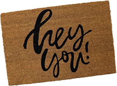 PRIDE OF PLACE Astley Rectangle Doormat | Hey You Design | Non-Slip PVC Backing | Heavy Duty Coir | Ideal for Indoor or Sheltered Outdoor Use | Waterproof | 40 x 60cm