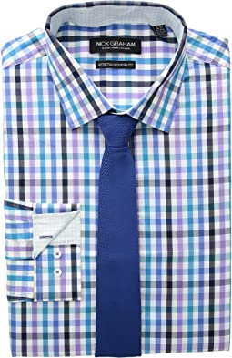 Multi Check Stretch Shirt with Textured Solid Tie