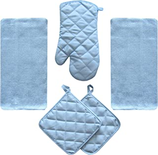 JJ Linens 5 Piece Sky Blue Kitchen Linen Towel Set Solid Colors Better Quality Cotton Poly with Potholders Oven Mitt