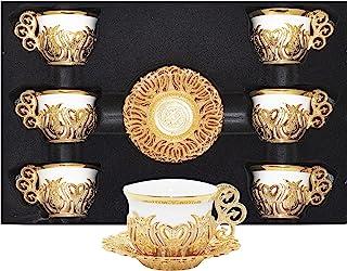 Alisveristime 12 Pc Turkish Greek Arabic Coffee Espresso Cup Saucer Porcelain Set (Gold Mix Color)