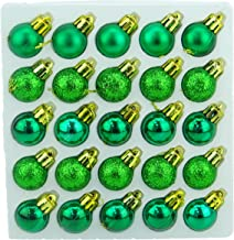 Pack of 25 Emerald Green Shiny, Matt & Glitter Mini Christmas Tree Baubles
