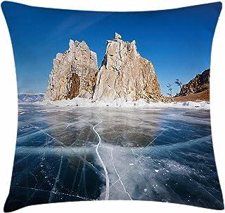 """冬スロー枕クッションカバーby Ambesonne、Frozen Lake Baikal in Siberia with icicles Scenic Natureサーフェス構造寒い気候、装飾正方形アクセント枕ケース、 20"""" W By 20"""" L min_44941_20x20"""