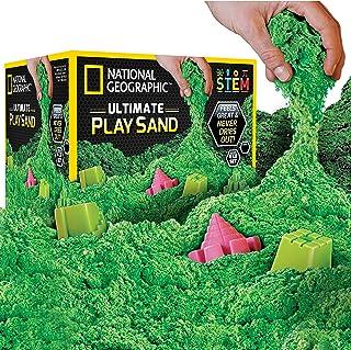 رمل للعب من ناشيونال جيوجرافيك - 6 باوند من الرمل مع قوالب قلعة (باللون الاخضر) - نشاط حسي حركي.