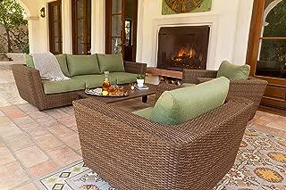 Royal Garden Greta 4 Piece Aluminum Wicker Furniture 3 Seat Sofa Patio Set/Outdoor Furniture, Conversation Set, Cushioned 3-Seat Sofa and Lounge Chairs with Cushions, Green Cushion, Aluminum Frame
