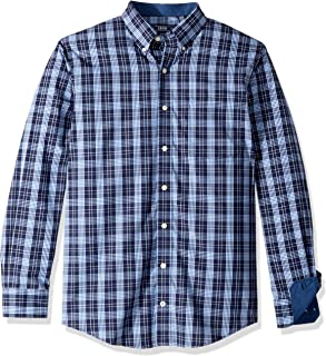 IZOD Men's Big and Tall Button Down Long Sleeve Stretch Performance Plaid Shirt