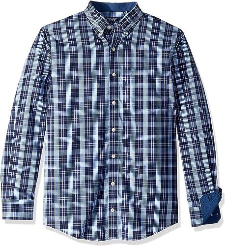 IZOD Hommes's Premium Essential Plaid manche longue Shirt (Big Tall Slim), Peacoat, grand