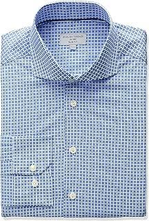 English Threads Men's Slim Fit Square Pattern Dress Shirt