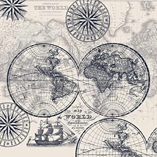 Map of The World Cotton Fabric by The Yard