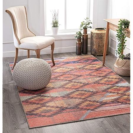 Amazon Com Well Woven Posh Trio Southwestern Melon Machine Washable Area Rug 5 X 7 Furniture Decor