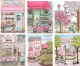 Paris Themed Girls Bedroom Decor Nursery Prints, Personalized, Set of 6, 5x7