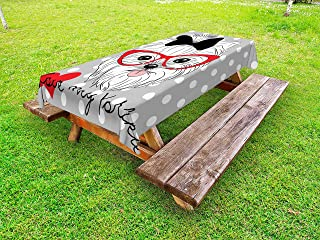 Ambesonne Yorkie Outdoor Tablecloth, Tilted Head Terrier I Love My Yorkie Red Nerd Glasses Love Heart Polka Dots, Decorative Washable Picnic Table Cloth, 58