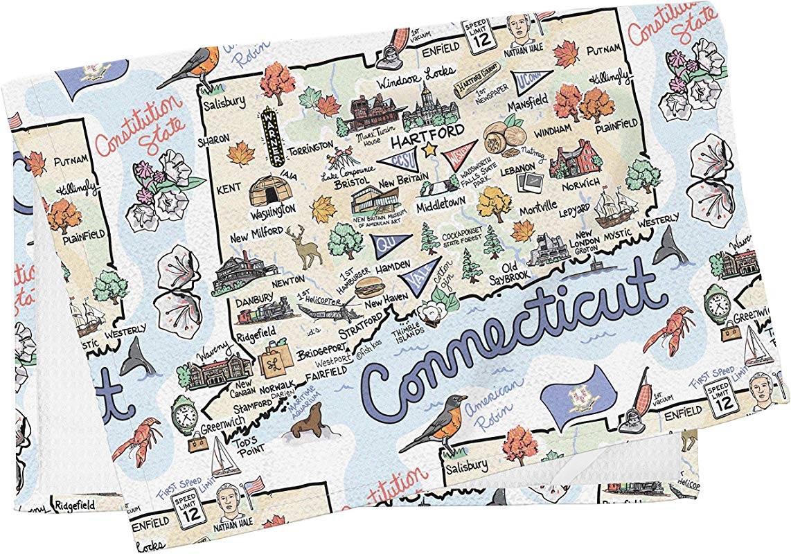 Fish Kiss State Map Multi Use Towel Connecticut