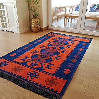 Secret Sea Collection Modern Bohemian Style Area Rug, 5' x 8' ft, (60'' x 100''), Cotton, Washable, Reversible (Navy Blue-Orange)