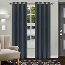 "Superior Shimmer Blackout Curtain Set of 2, Thermal Insulated Panel Pair with Grommet Top Header, Chic Metallic Embellished Room Darkening Drapes, Available in 4 Lengths - Deep Gulf, 52"" x 84"" Each"