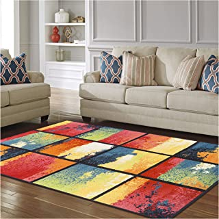 Superior Painted Cubes Collection, 6mm Pile Height with Jute Backing, Quality and Affordable Area Rugs, 5' x 8' Multi Color