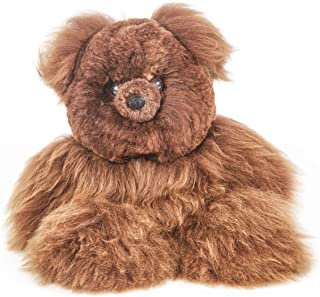 Raymis 100% Baby Alpaca Fur Brown Teddy Bear Plush Figure Toy Stuffed (12-Inch)