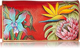 Anuschka Women's Handpainted Leather Accordion Flap Wallet,Island Escape