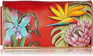 Anuschka Women's Handpainted Leather Accordion Flap Wallet,Island Escape