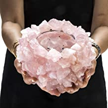 KALIFANO Natural Rose Quartz Cluster Crystal Vase - Handmade Decorative High Energy Elestial Geode Candle Holder Votive with Healing Effects
