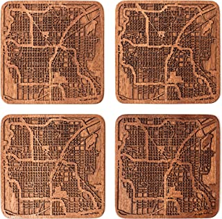 Las Vegas Map Coaster by O3 Design Studio, Set Of 4, Sapele Wooden Coaster With City Map, Handmade
