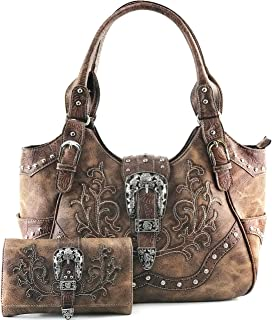 Western Brown Purse Floral Buckle Concealed Carry Handbag