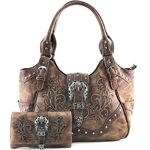 52e2e9eca14b Justin West Western Brown Purse Floral Buckle Concealed Carry Handbag