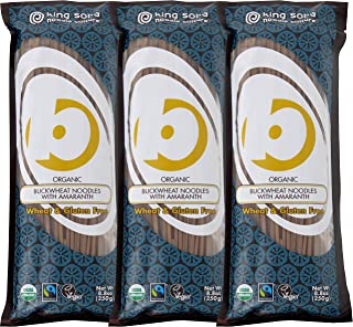 King Soba Gluten-Free & Organic Buckwheat with Amaranth Spaghetti Noodles-Fairtrade, 8.8 oz, 3 Piece (3 Servings Per Pack)
