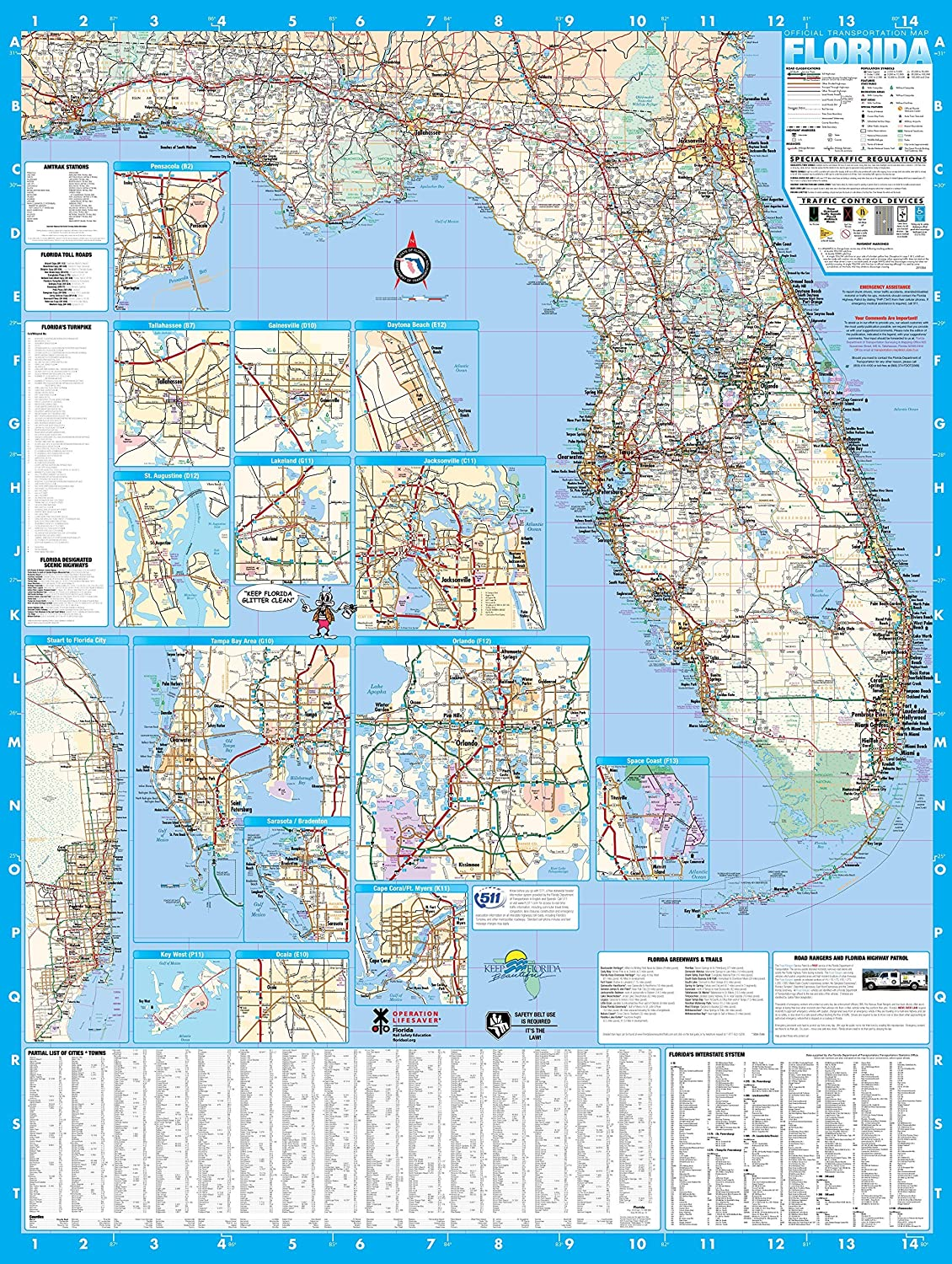 Florida Limited price State Laminated Wall low-pricing Map 48x64 Poster
