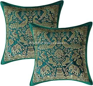 Stylo Culture Indio Brocado Almohadones para Sofa 30x30 cm 30x30 cm Verde Tradicional Étnico Brocado Jacquard Elefante 12 ...