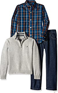 Little Boys' Toddler Three Piece Set with Woven Shirt Quarter Zip Sweater and Pant, Grey Heather, 4T