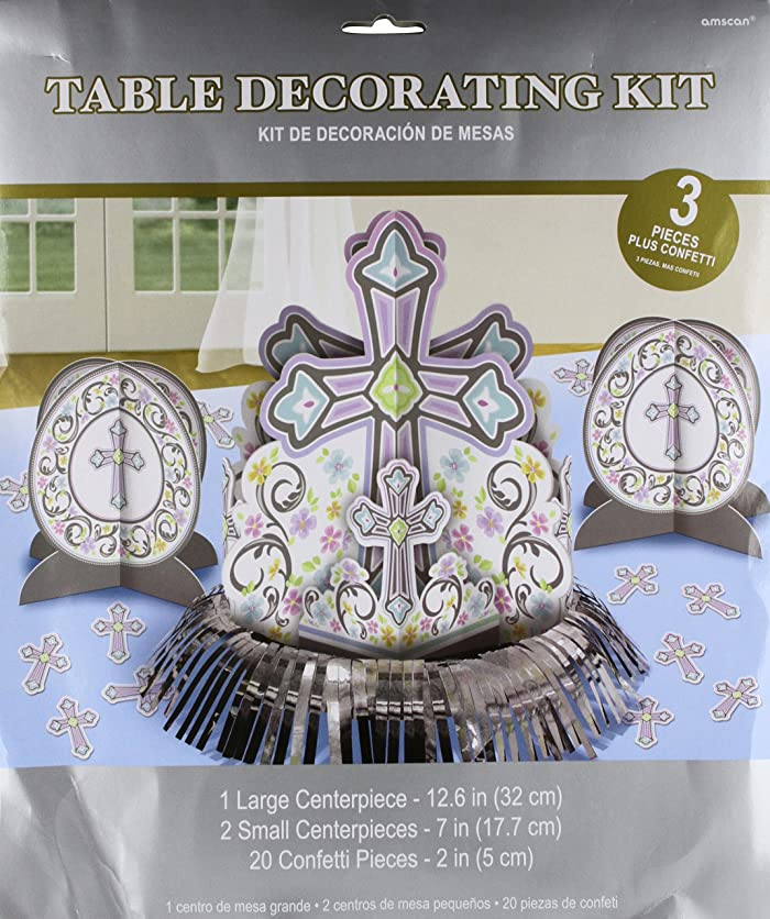 Amscan 280053 Blessed Day Kit Table Decoration, Assorted Sizes, Multicolored arsz32744