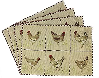 Tache Country Farmhouse Rooster Hens Chickens Antique Vintage Traditional Home Beige Decorative Woven Tapestry Placemats, 13x19""