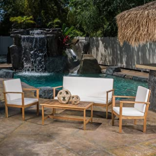 Christopher Knight Home 296130 Lucent Outdoor 4-Piece Acacia Wood Chat Set with Cushions, Brown Patina
