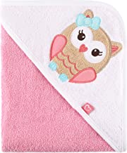 Be Mammy Asciugamano con Cappuccio 100% Cotone Neonato e Bimbo Oeko-Tex Standard 100 100cm x 100cm BE20-240-BBL (Rosa - Gufo)