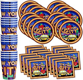 New York City NYC Birthday Party Supplies Set Plates Napkins Cups Tableware Kit for 16