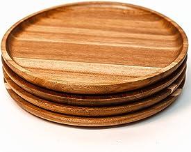 أطباق عشاء أكاسيا خشبية 27.94 سم مستديرة سهلة التنظيف طقم أدوات المائدة / شاحن