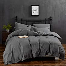 MoMA 100% Washed Cotton Duvet Cover Set with Button Closure and Corner Ties - 3 Pieces Bedding Set (Dark Grey, Queen)