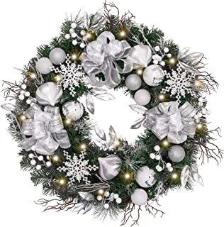 Valery Madelyn Pre-Lit 30 Inch Frozen Winter Silver White Christmas Wreath for Front Door with Shatterproof Ball Ornaments, Snowflakes, Pine Cones, Ribbons and Flowers, Battery Operated 40 LED Lights