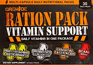 Grenade Ration Pack | Daily Multivitamin Supplement for Men & Women | Vitamins to Support Your Nutrition, Increase Energy & Improve Recovery | BCAA & Essential Fatty Acids | Multi Capsule, 30 Count